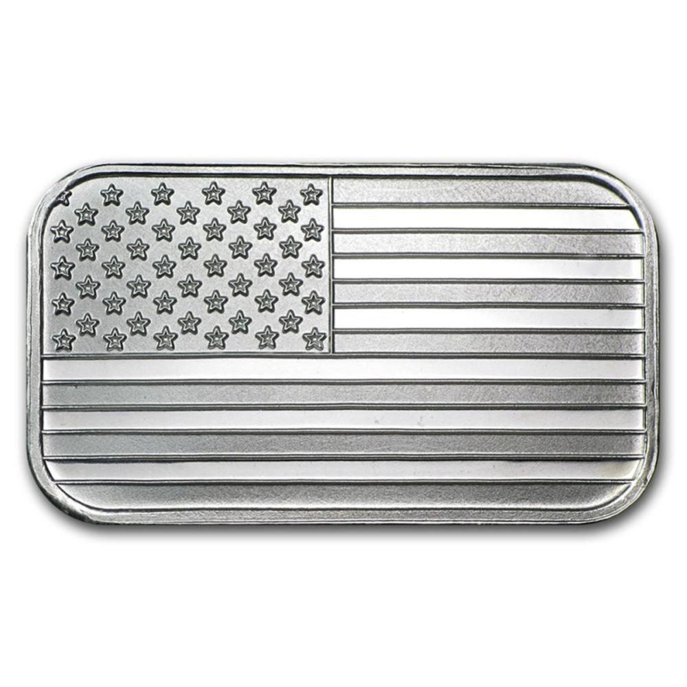 1 Oz American Flag Silver Bar 999 Pure