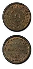 Civil War Token MONKS METAL SIGNS 1863 UNC