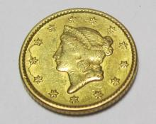 1851 $1 Gold Liberty TYPE 1 Coin