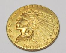1909 CH BU $ 2.5 Gold Indian STUNNER