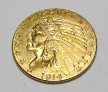 1914 D $ 2.5 Gold Indian High Grade
