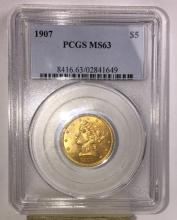 1907 MS 63 PCGS $5 Gold Liberty