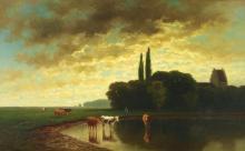 Neppel, Heinrich (1874 - 1936), ''Sommerlandschaft mit Kühen im Wasser'', Öl auf Leinwand, signiert links unten H. Neppel, 50 x 80 cm, zwei Flickstellen verso, alt restauriert