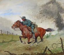 Weber-Brauns, August (1887 - 1956), ''Der Meldereiter'', Öl Karton, signiert und datiert unten links Weber-Brauns 1944, 54 x 45 cm