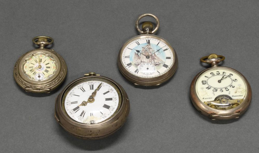4 Herrentaschenuhren, Silber/versilbert, 18./20. Jh., alle funktionstüchtig (ohne Gewähr):