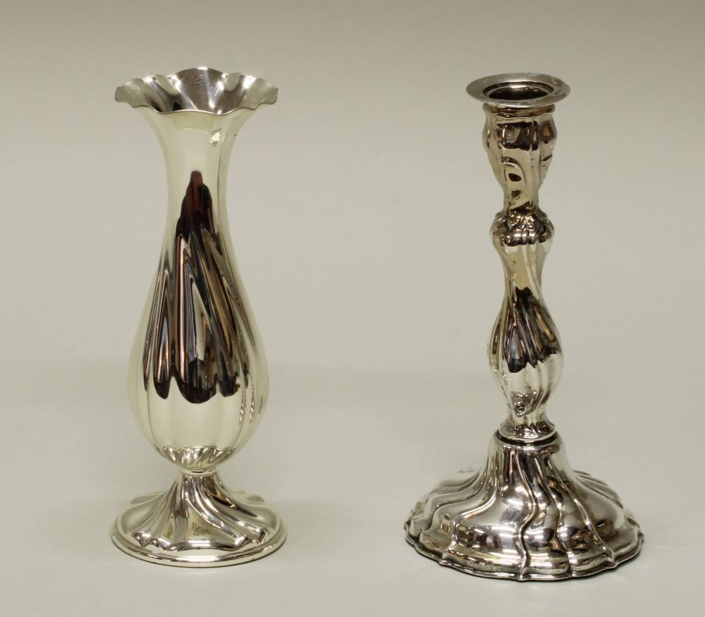 Tischvase, Silber 925, Gayer & Krauss, gedrehte Züge, geschwert, 18.5 cm hoch, Delle;