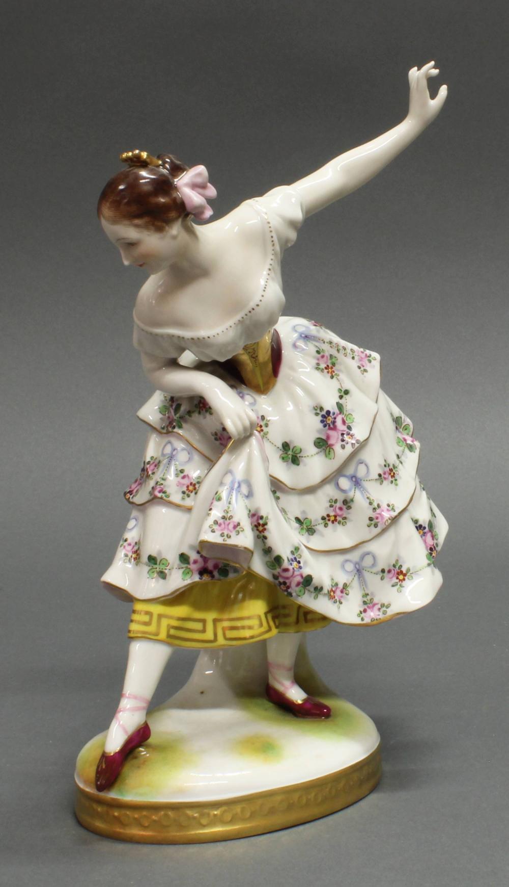 """Porzellanfigur, """"Tänzerin Fanny Elßler"""", Volkstedt, 1915-1934, polychrom und goldstaffiert, 23.5 cm hoch, Brandriss, ein Finger fehlt"""