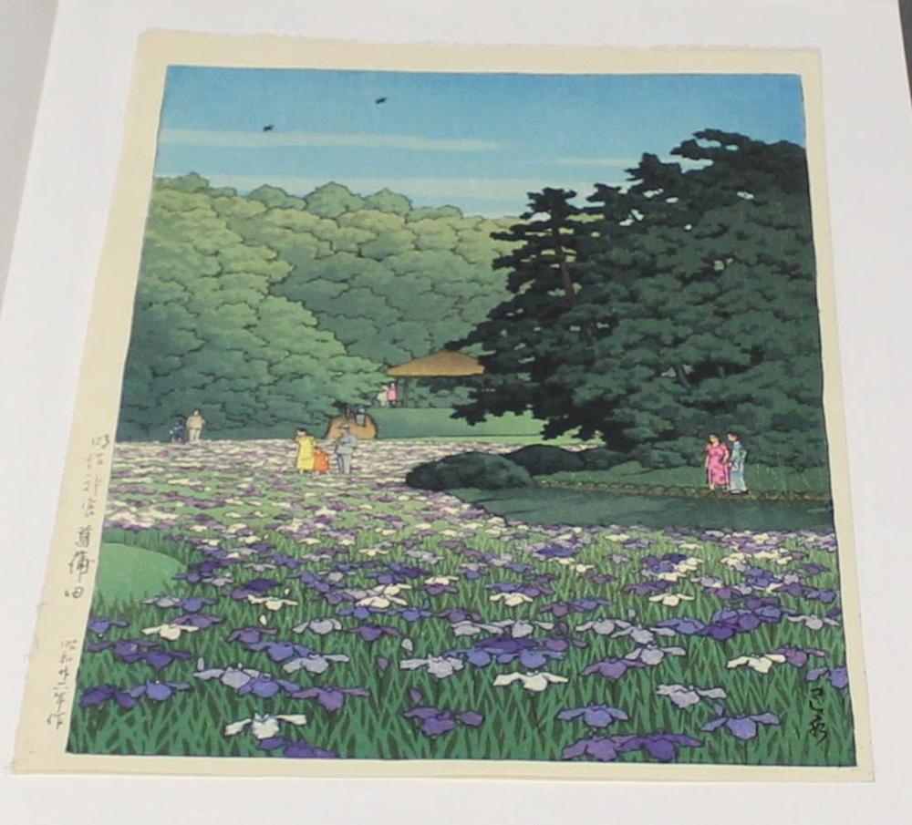 "Farbholzschnitt, ""Kagoshima Sakurajima"", Japan, 1951, Kawase Hasui (1883-1957), Iris-Garten am Meiji Schrein in Tokyo, oban, 36.5 x 24.1 cm, an Passepartout montiert"