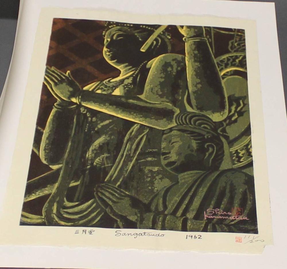 "Farbholzschnitt, ""Sangatsudo Tempel"", Japan, 1962, Shiro Kasamatsu (1898-1991), in Bleistift nummeriert 111/200 u.r., oban, 36.5 x 24.6 cm, kleine Blattecke fehlt u.r., an Passepartout montiert"