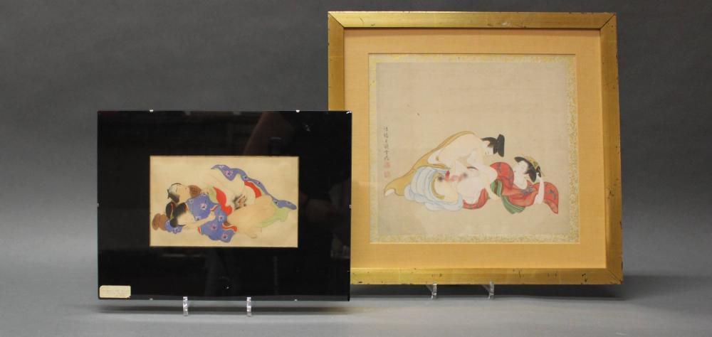 """2 Malereien, """"Shunga"""", Japan, 20. Jh., Tusche und Farbe auf Seide, je ein Liebespaar, 1x bezeichnet Hokyo Tsukioka Settei mit Siegel Shinten'o und Tsukioka, 30.3 x 33.5 cm (P.a), 14 x 23.1 cm (P.a), je unter Glas gerahmt"""