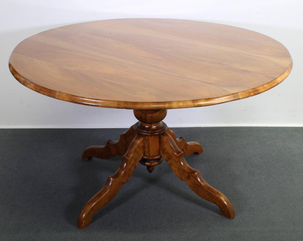 Esstisch, 19. Jh., Nussbaum, runde Platte, Mittelsäule mit vier Füßen, 77 cm hoch, ø 138 cm