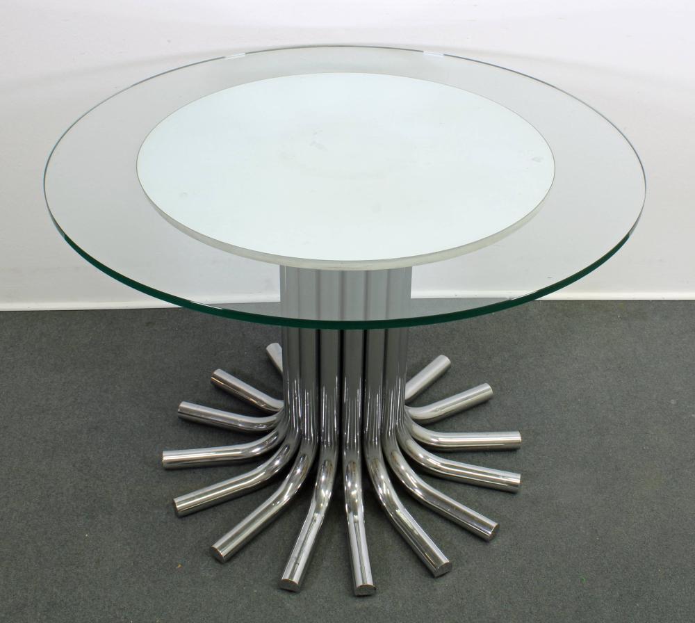 Esstisch, modernes Design, Chromfuß, runde Glasplatte mit darunter liegender kleinerer Spiegelplatte, 73 cm hoch, ø 100 cm, minimale Gebrauchsspuren