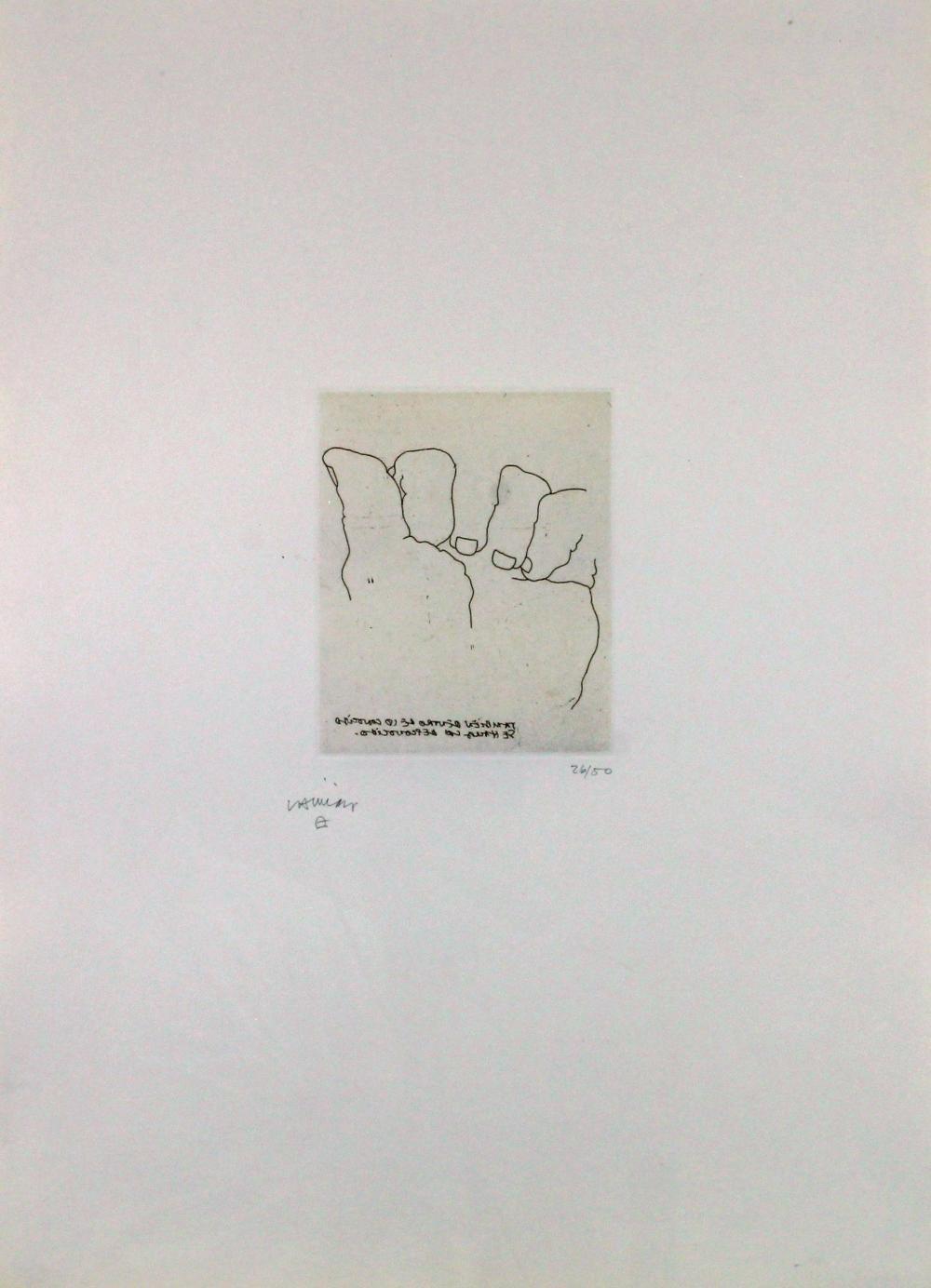 Chillida, Eduardo (San Sebastian 1924 - 2002 ebenda, Studium an der KA Madrid und am Círculo de Bellas Artes in Madrid, in Frankreich und Spanien tätiger Künstler),