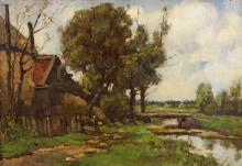 Haaren, Dirk Johannes van (1878 Amsterdam - 1953 ebenda, Landschaftsmaler), ''Haus am Bachlauf'', Öl auf Leinwand, auf Karton, signiert unten links D.J. van Haaren, 30 x 44 cm, leicht verschmutzt
