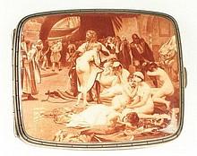 Rare Erotic Silver and Enamel Cigarette Case