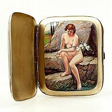 Double lidded erotic cigarette case