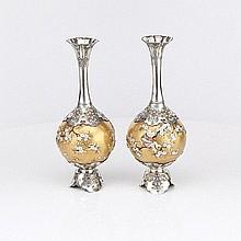Japanese and Silver Shibayama Vases, Circa 1890
