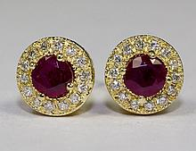 14k Yellow Gold Round Ruby And Round White Diamonds .85cttw Halo Stud Earrings