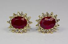 14k Yellow Gold Oval Red Ruby And White Round Diamond Halo Butterfly Earrings