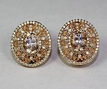 14k Rose Gold Oval Pink Morganite And White Round Diamonds Extravagant Earrings