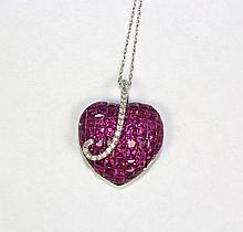14k White Gold Red Ruby And White Round Diamond Heart Shaped Pendant With Chain