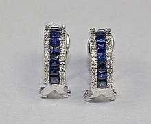 14K White Gold Round Diamond And Blue Princess Cut Sapphire Earrings