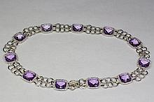 14k White Gold Purple Amethyst And White Round Diamond 63.89 Carat 16.5 Inch Necklace