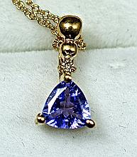 14k Rose Gold Blue Trillion Cut Tanzanite and White Diamond Pendant and chain