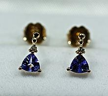 14k Rose Gold Trillion Cut Blue Tanzanite And Diamond Earrings