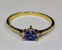 14k Yellow Gold Trillion Cut Blue Tanzanite And White Round Diamond Ring Size 7