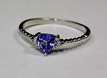 14k White Gold Blue Trillion Cut Tanzanite And White Diamond Ring Size 7