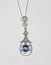 14K White Gold Pear Shaped Blue Topaz And Round Diamond Pendant With Chain