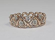 10k Rose Gold Round White Diamond Heart Shape Design Ring Size 6.5