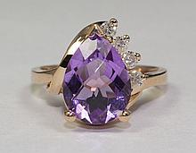 14k Rose Gold Pear Shaped Amethyst And White Round Diamond 3.43 Carat Ring Size 6.25