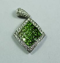 18k White Gold Green Sapphire And White Sapphire & Diamond Transitional Pendant