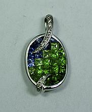 18k White Gold Blue Sapphire and Green Sapphire Transitional Diamond Pendant