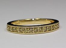 14k Yellow Gold Yellow Round Brilliant Cut Diamond Band .30 TCW Ring Size 6.5