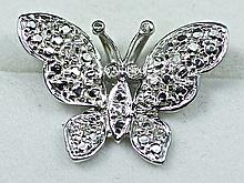 14k White Gold White Round Diamond Butterfly Shaped Pendant And Chain