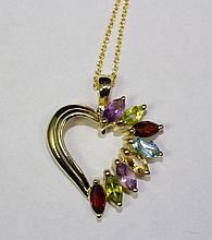 14k Yellow Gold Heart Pendant With Marquise Color Stones And Chain