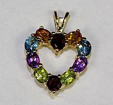 10k Yellow Gold Oval Topaz, Citrine, Garnet, Amethyst, Peridot Heart Pendant