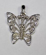 14k White Gold Round White Diamond Butterfly Shaped Pendant