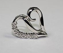 14k White Gold Diamond Lovely Heart Shaped Round Diamond LOVE Pendant