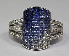 18k White Gold Blue Sapphire And White Sapphire And White Diamond Ring Size 7.5