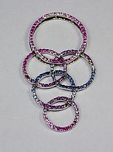 18k White Gold Blue Sapphire And Pink Sapphire Circle Elegant Pendant