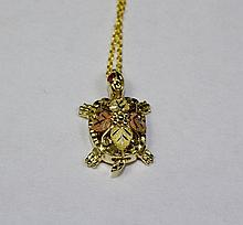 14k Yellow Gold And Rose Gold Turtle Pendant With Pink Sapphire Eyes