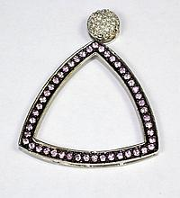 18k White Gold Round Pink Sapphire and White Round Diamond Triangle Pendant