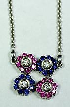 14k White Gold Blue Sapphires And Pink Sapphire And Diamond 16 inch Necklace