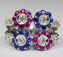 14k White Gold Blue Sapphire And Pink Sapphire And Diamond Flower Ring Size 7