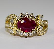 14k Yellow Gold Oval Red Ruby And Round White Diamond Elegant Ring Size 6.75