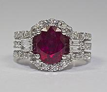 14k White Gold Oval Red Ruby And Baguette And Round White Diamond Ring Size 7
